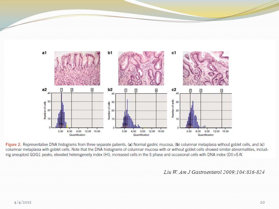 Liu W. Am J Gastroenterol 2009;104:816-824 4/4/201220