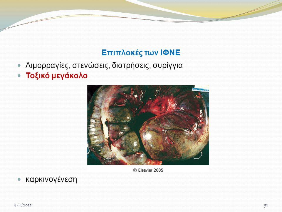 Επιπλοκές των ΙΦΝΕ Αιμορραγίες, στενώσεις, διατρήσεις, συρίγγια Τοξικό μεγάκολο καρκινογένεση 4/4/201251
