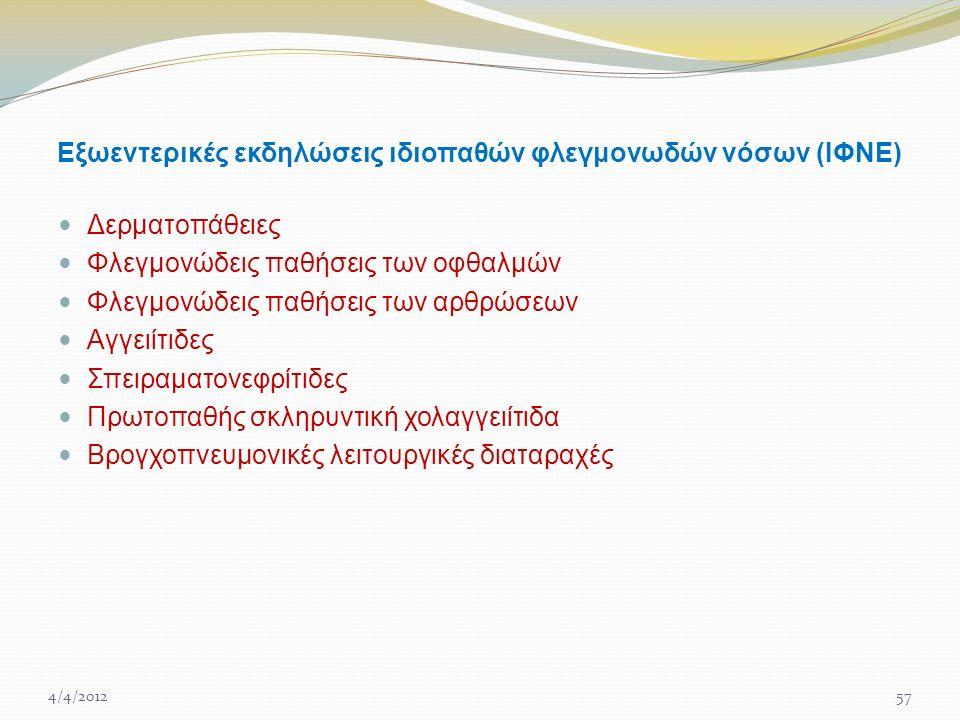 Εξωεντερικές εκδηλώσεις ιδιοπαθών φλεγμονωδών νόσων (ΙΦΝΕ) Δερματοπάθειες Φλεγμονώδεις παθήσεις των οφθαλμών Φλεγμονώδεις παθήσεις των αρθρώσεων Αγγειίτιδες Σπειραματονεφρίτιδες Πρωτοπαθής σκληρυντική χολαγγειίτιδα Βρογχοπνευμονικές λειτουργικές διαταραχές 4/4/201257