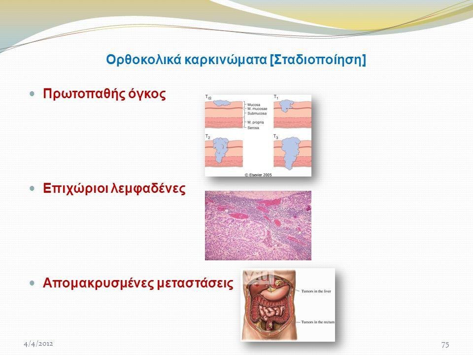 Ορθοκολικά καρκινώματα [Σταδιοποίηση] Πρωτοπαθής όγκος Επιχώριοι λεμφαδένες Απομακρυσμένες μεταστάσεις 4/4/201275