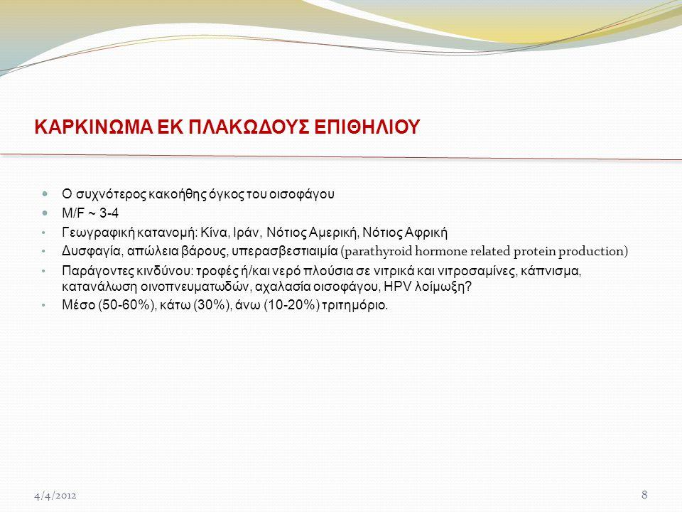 ΚΑΡΚΙΝΩΜΑ ΕΚ ΠΛΑΚΩΔΟΥΣ ΕΠΙΘΗΛΙΟΥ Ο συχνότερος κακοήθης όγκος του οισοφάγου M/F ~ 3-4 Γεωγραφική κατανομή: Κίνα, Ιράν, Νότιος Αμερική, Νότιος Αφρική Δυσφαγία, απώλεια βάρους, υπερασβεστιαιμία ( parathyroid hormone related protein production) Παράγοντες κινδύνου: τροφές ή/και νερό πλούσια σε νιτρικά και νιτροσαμίνες, κάπνισμα, κατανάλωση οινοπνευματωδών, αχαλασία οισοφάγου, HPV λοίμωξη.