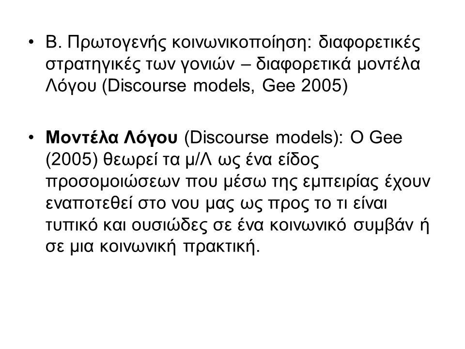 Β. Πρωτογενής κοινωνικοποίηση: διαφορετικές στρατηγικές των γονιών – διαφορετικά μοντέλα Λόγου (Discourse models, Gee 2005) Μοντέλα Λόγου (Discourse m