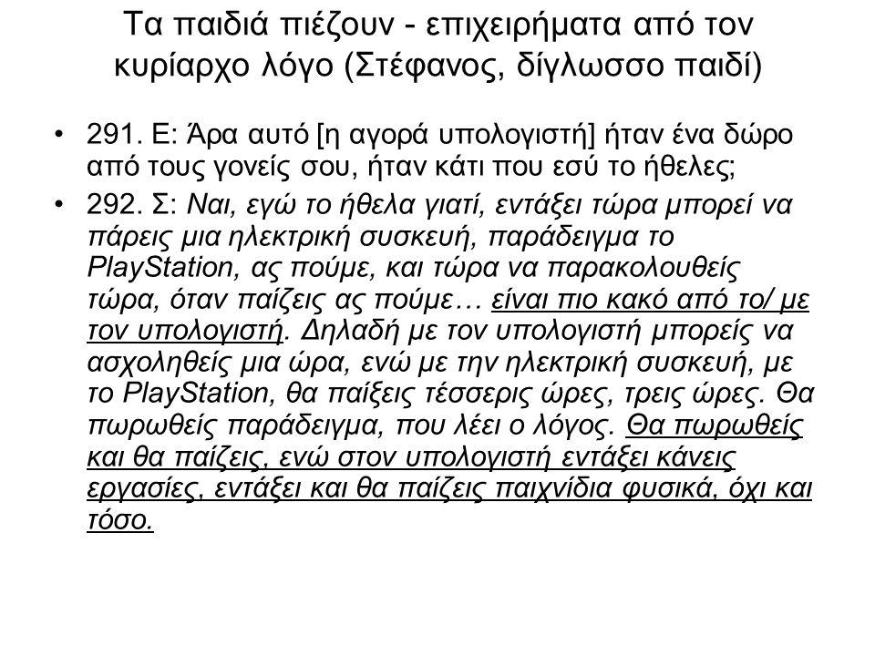 Τα παιδιά πιέζουν - επιχειρήματα από τον κυρίαρχο λόγο (Στέφανος, δίγλωσσο παιδί) 291.