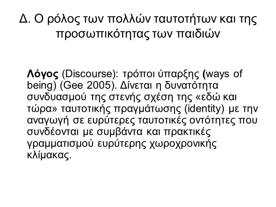 Δ. Ο ρόλος των πολλών ταυτοτήτων και της προσωπικότητας των παιδιών Λόγος (Discourse): τρόποι ύπαρξης (ways of being) (Gee 2005). Δίνεται η δυνατότητα