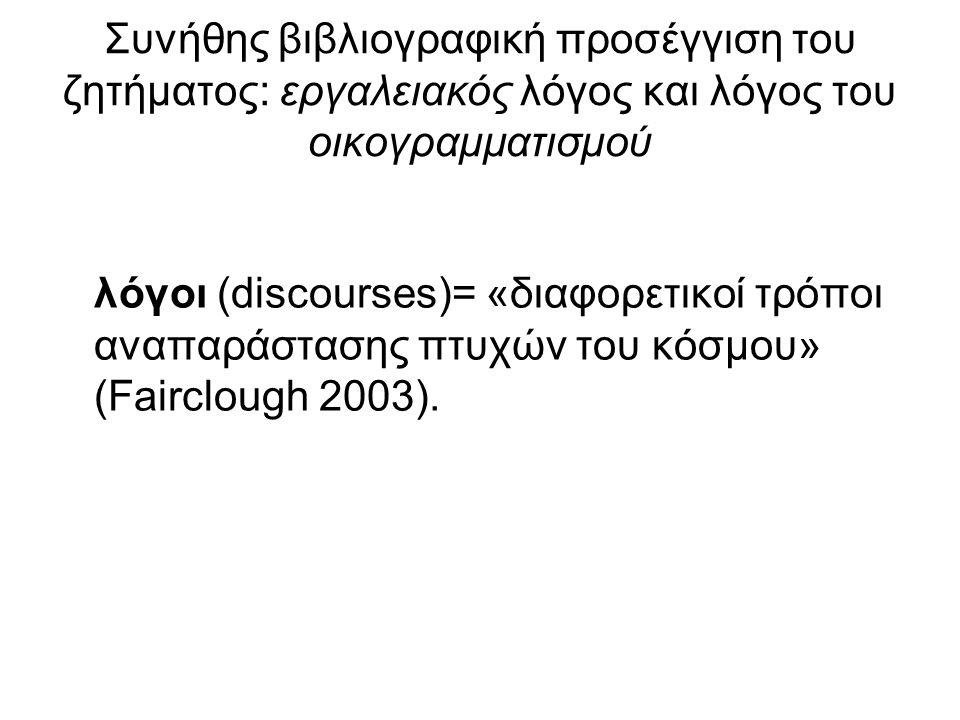 Συνήθης βιβλιογραφική προσέγγιση του ζητήματος: εργαλειακός λόγος και λόγος του οικογραμματισμού λόγοι (discourses)= «διαφορετικοί τρόποι αναπαράστασης πτυχών του κόσμου» (Fairclough 2003).