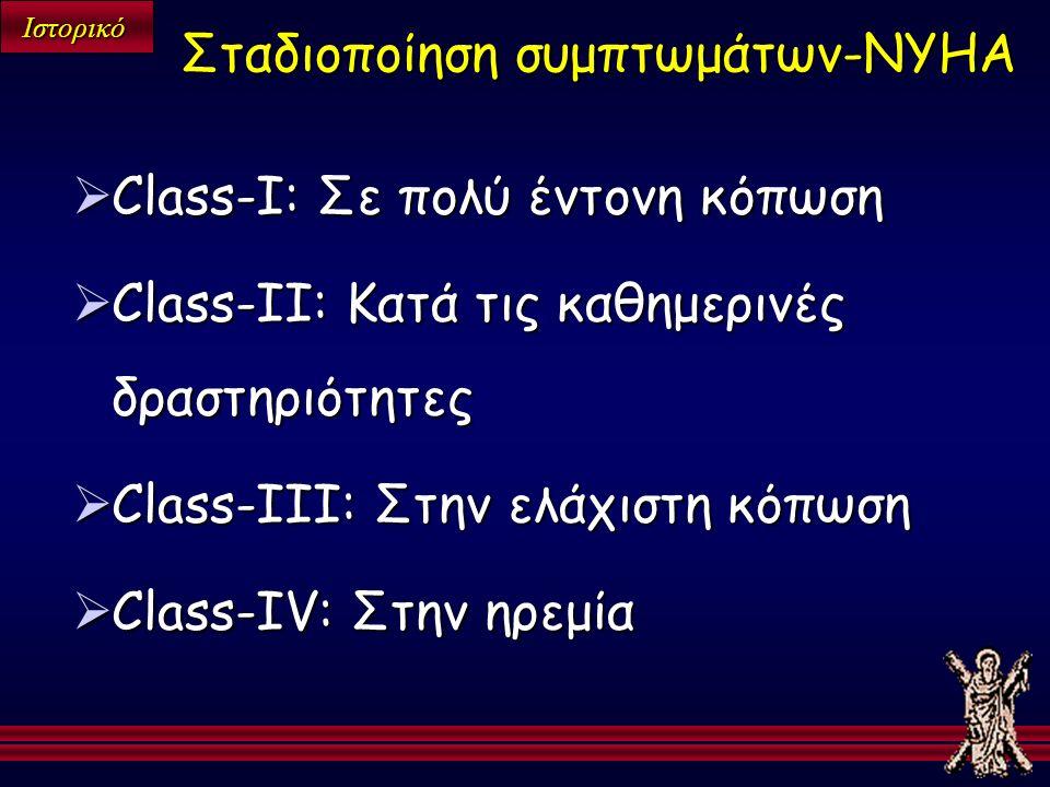 Ιστορικό  Class-I: Σε πολύ έντονη κόπωση  Class-II: Κατά τις καθημερινές δραστηριότητες  Class-III: Στην ελάχιστη κόπωση  Class-IV: Στην ηρεμία Σταδιοποίηση συμπτωμάτων-NYHA