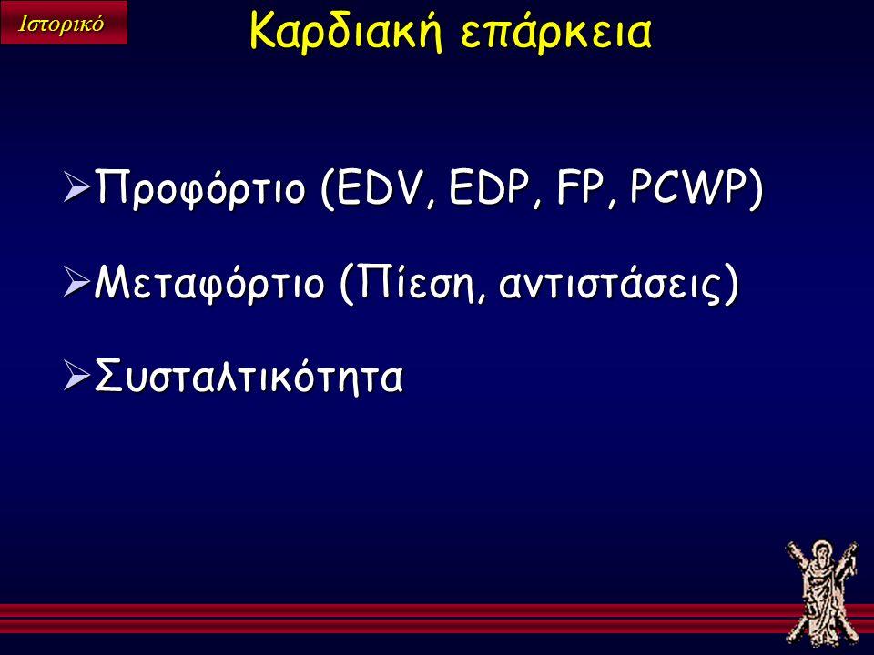 Ιστορικό  Προφόρτιο (EDV, EDP, FP, PCWP)  Μεταφόρτιο (Πίεση, αντιστάσεις)  Συσταλτικότητα Καρδιακή επάρκεια