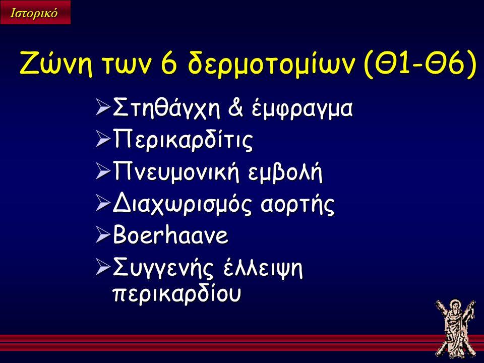 Ιστορικό  Στηθάγχη & έμφραγμα  Περικαρδίτις  Πνευμονική εμβολή  Διαχωρισμός αορτής  Boerhaave  Συγγενής έλλειψη περικαρδίου Ζώνη των 6 δερμοτομίων (Θ1-Θ6)