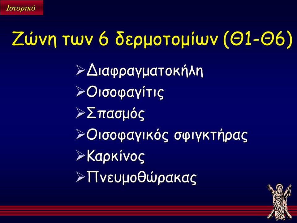 Ιστορικό  Διαφραγματοκήλη  Οισοφαγίτις  Σπασμός  Οισοφαγικός σφιγκτήρας  Καρκίνος  Πνευμοθώρακας Ζώνη των 6 δερμοτομίων (Θ1-Θ6)