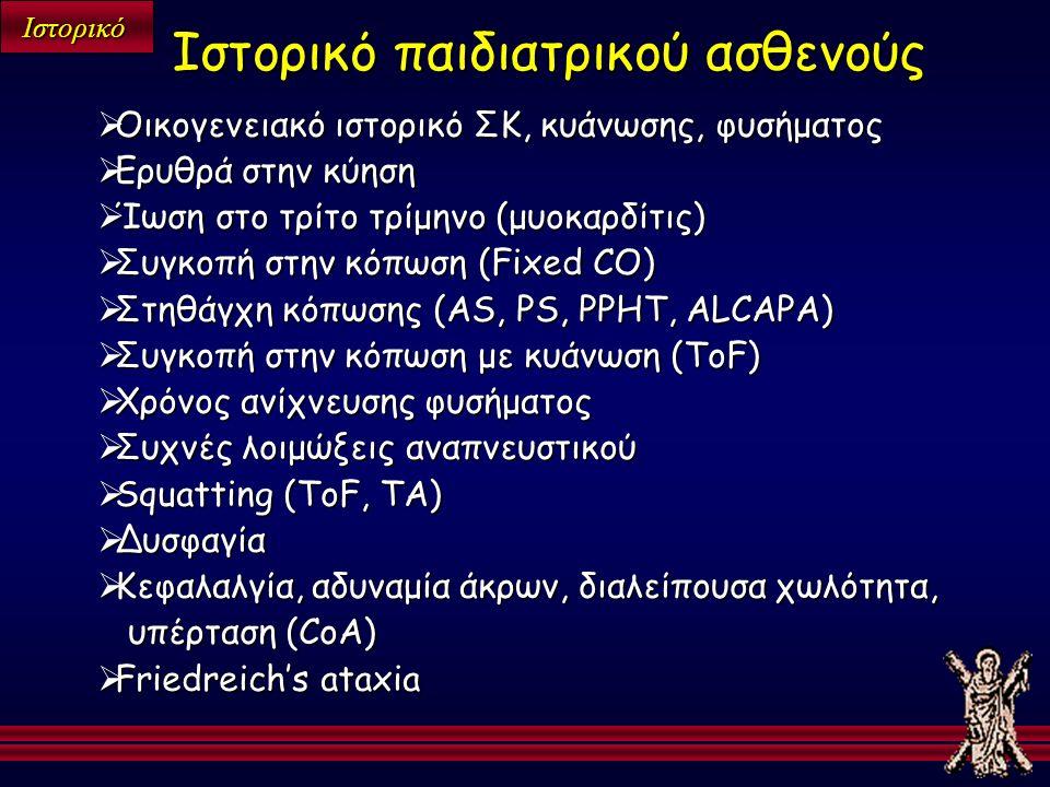 Ιστορικό  Οικογενειακό ιστορικό ΣΚ, κυάνωσης, φυσήματος  Ερυθρά στην κύηση  Ίωση στο τρίτο τρίμηνο (μυοκαρδίτις)  Συγκοπή στην κόπωση (Fixed CO)  Στηθάγχη κόπωσης (AS, PS, PPHT, ALCAPA)  Συγκοπή στην κόπωση με κυάνωση (ΤοF)  Χρόνος ανίχνευσης φυσήματος  Συχνές λοιμώξεις αναπνευστικού  Squatting (ToF, TA)  Δυσφαγία  Κεφαλαλγία, αδυναμία άκρων, διαλείπουσα χωλότητα, υπέρταση (CoA)  Friedreich's ataxia Ιστορικό παιδιατρικού ασθενούς