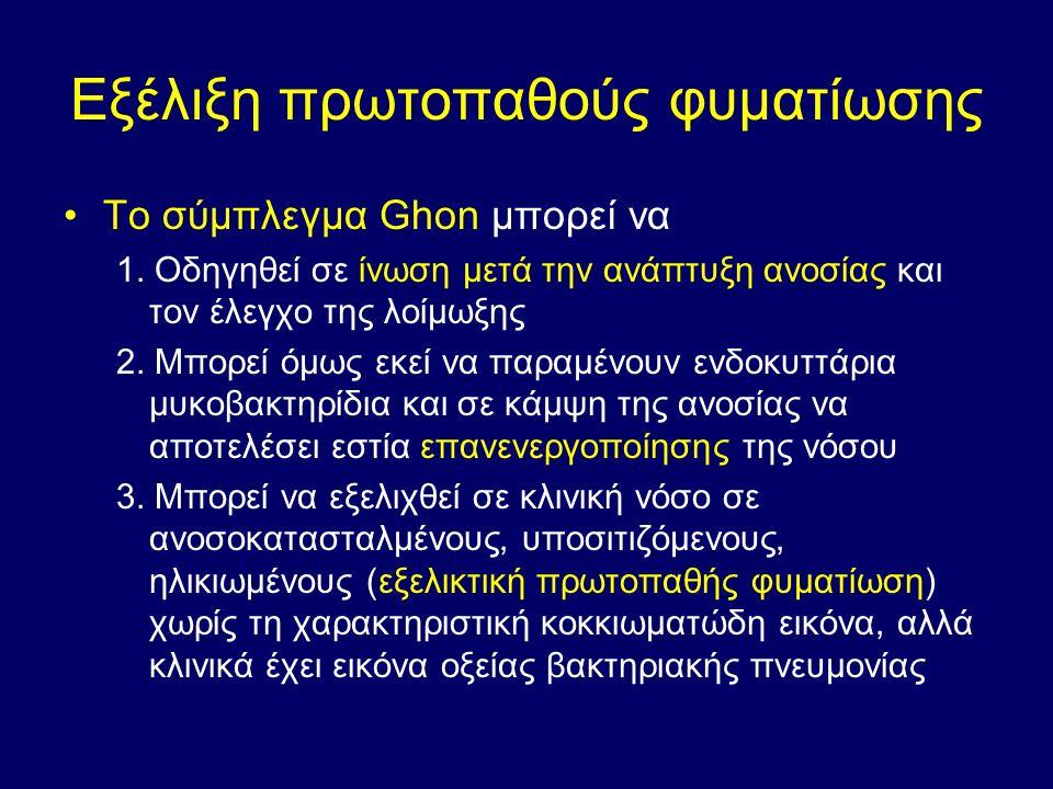 Εξέλιξη πρωτοπαθούς φυματίωσης Το σύμπλεγμα Ghon μπορεί να 1.