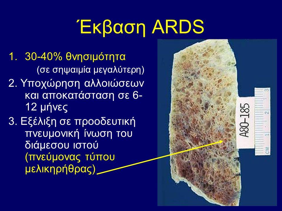Έκβαση ARDS 1.30-40% θνησιμότητα (σε σηψαιμία μεγαλύτερη) 2.