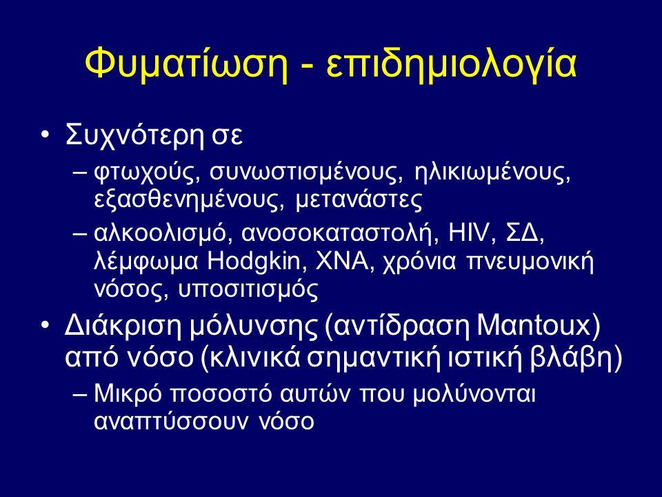Φυματίωση - επιδημιολογία Συχνότερη σε –φτωχούς, συνωστισμένους, ηλικιωμένους, εξασθενημένους, μετανάστες –αλκοολισμό, ανοσοκαταστολή, ΗIV, ΣΔ, λέμφωμα Ηodgkin, ΧΝΑ, χρόνια πνευμονική νόσος, υποσιτισμός Διάκριση μόλυνσης (αντίδραση Μαntoux) από νόσο (κλινικά σημαντική ιστική βλάβη) –Μικρό ποσοστό αυτών που μολύνονται αναπτύσσουν νόσο