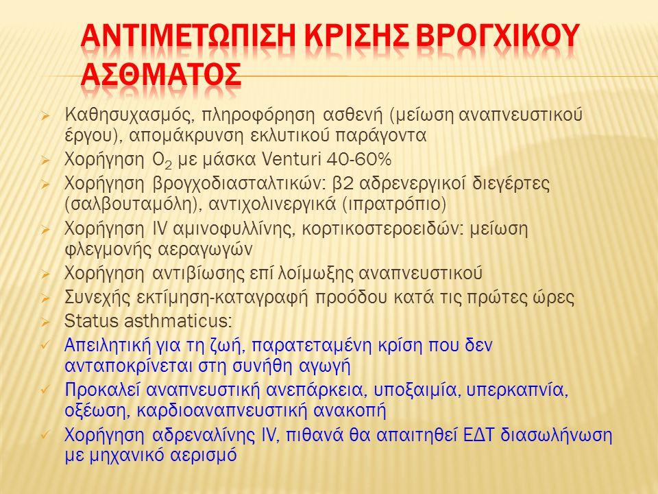  Ανησυχητική κλινική εικόνα: Αναπνοές >25 / λεπτό, σφύξεις >110 / λεπτό, spO 2 <92%, έντονος βήχας/συριγμός Δυσκολία ομιλίας (άρθρωση ολόκληρης πρότασης χωρίς βαθιά ανάσα) Ασθενής ωχρός, κάθιδρος, με ολοένα πιο αδύναμες προσπάθειες αναπνοής  Αέρια αίματος: πτώση PaΟ 2, pH, αύξηση PaCO 2  Σπιρομέτρηση – ιδιαίτερα σημαντική η μέγιστη εκπνευστική ροή: Απαιτείται σύγκριση με τιμές προ της κρίσης (εκτίμηση επιδείνωσης, παρακολούθηση μεταβολών) <50% προβλεπόμενης: σοβαρό άσθμα - <35% προβλεπόμενης: άσθμα απειλητικό για τη ζωή Υποξαιμία, οξέωση, καρδιοαναπνευστική ανακοπή  Ακτινογραφία: υποψία πνευμοθώρακα