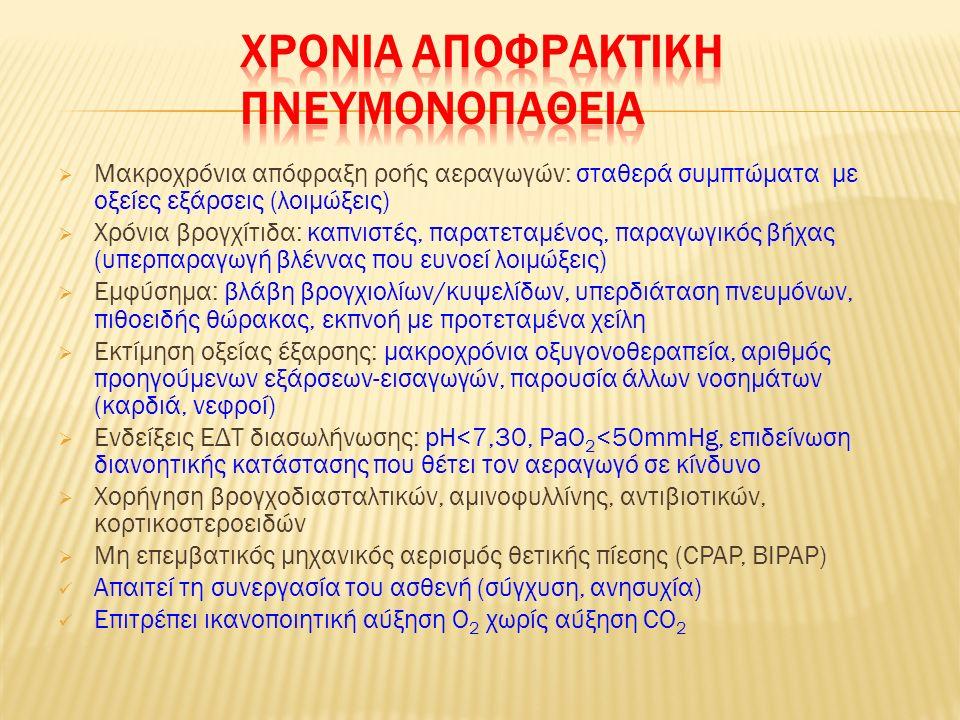 Αναπνευστική λοίμωξη με πύκνωση μέρους πνεύμονα  Κλινική εικόνα: δύσπνοια με παραγωγικό βήχα,ταχύπνοια, πλευριτικός πόνος, πυρετός, κυάνωση  Ιδιαίτερη βαρύτητα όταν: αναπνοές >30/λεπτό, Δ.Α.Π.