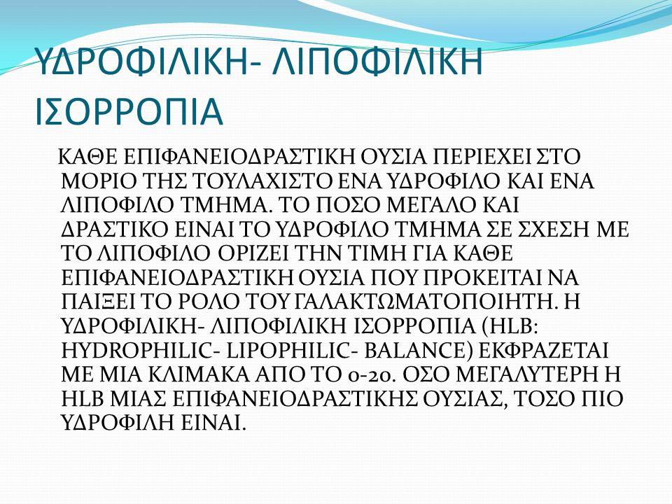 ΥΔΡΟΦΙΛΙΚΗ- ΛΙΠΟΦΙΛΙΚΗ ΙΣΟΡΡΟΠΙΑ ΚΑΘΕ ΕΠΙΦΑΝΕΙΟΔΡΑΣΤΙΚΗ ΟΥΣΙΑ ΠΕΡΙΕΧΕΙ ΣΤΟ ΜΟΡΙΟ ΤΗΣ ΤΟΥΛΑΧΙΣΤΟ ΕΝΑ ΥΔΡΟΦΙΛΟ ΚΑΙ ΕΝΑ ΛΙΠΟΦΙΛΟ ΤΜΗΜΑ. ΤΟ ΠΟΣΟ ΜΕΓΑΛΟ ΚΑ