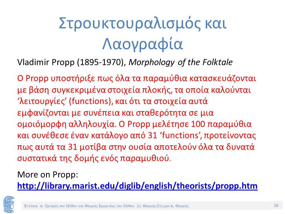 15 Ενότητα Α: Ορισμός του Μύθου και Θεωρίες Ερμηνείας του Μύθου.