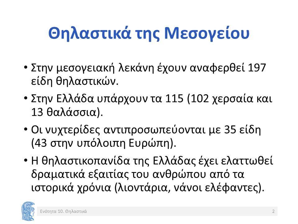 Θηλαστικά της Μεσογείου Στην μεσογειακή λεκάνη έχουν αναφερθεί 197 είδη θηλαστικών. Στην Ελλάδα υπάρχουν τα 115 (102 χερσαία και 13 θαλάσσια). Οι νυχτ