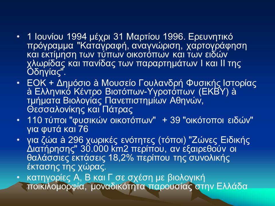 1 Ιουνίου 1994 μέχρι 31 Μαρτίου 1996. Ερευνητικό πρόγραμμα