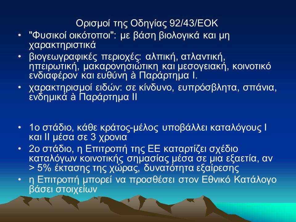Ορισμοί της Οδηγίας 92/43/ΕΟΚ