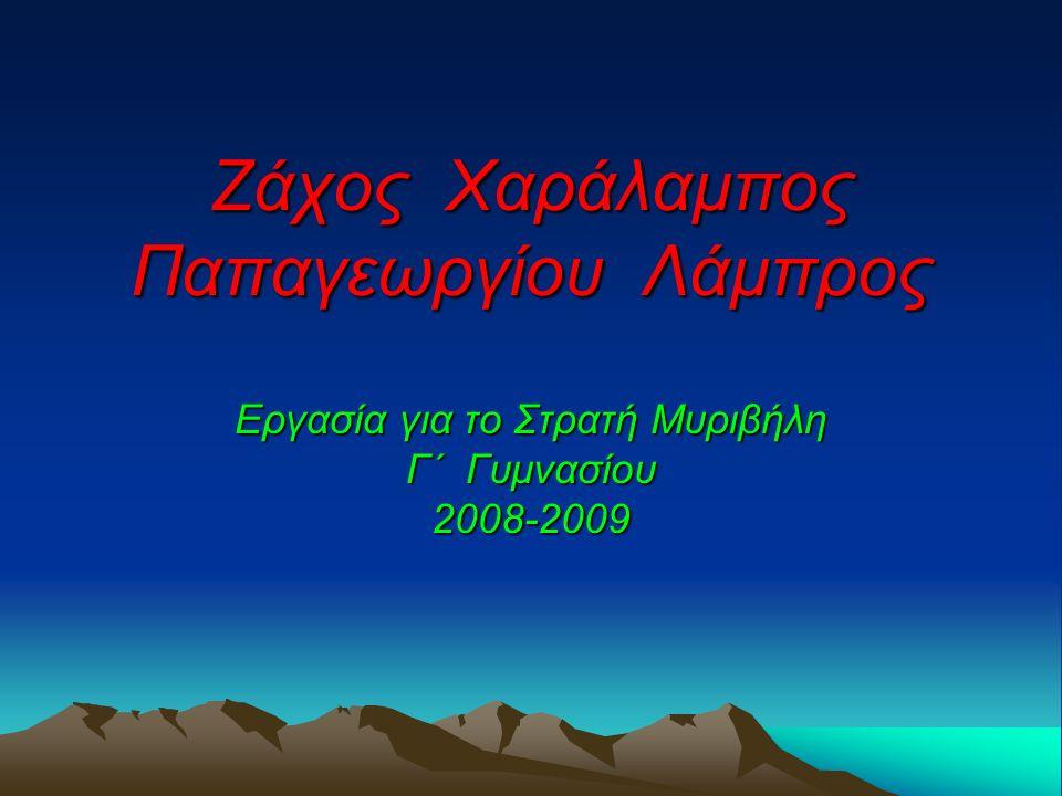 Ζάχος Χαράλαμπος Παπαγεωργίου Λάμπρος Εργασία για το Στρατή Μυριβήλη Γ΄ Γυμνασίου 2008-2009