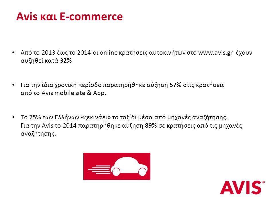 Αvis και E-commerce Από το 2013 έως το 2014 οι online κρατήσεις αυτοκινήτων στο www.avis.gr έχουν αυξηθεί κατά 32% Για την ίδια χρονική περίοδο παρατηρήθηκε αύξηση 57% στις κρατήσεις από το Avis mobile site & App.