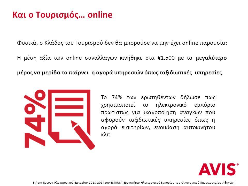 Και ο Τουρισμός… online Ετήσια Έρευνα Ηλεκτρονικού Εμπορίου 2013-2014 του ELTRUN (Εργαστήριο Ηλεκτρονικού Εμπορίου του Οικονομικού Πανεπιστημίου Αθηνών) Για το πρώτο 9μηνο του 2014: Aπό το προαναφερθέν 74%, το 60% προτίμησε από 1-6 φορές το internet για την αγορά αυτών των υπηρεσιών ενώ το υπόλοιπο 14% κινήθηκε online πάνω από 7 φορές.