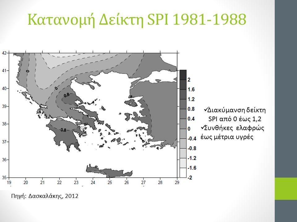 Κατανομή Δείκτη SPI 1981-1988 Διακύμανση δείκτη SPI από 0 έως 1,2 Συνθήκες ελαφρώς έως μέτρια υγρές Πηγή: Δασκαλάκης, 2012