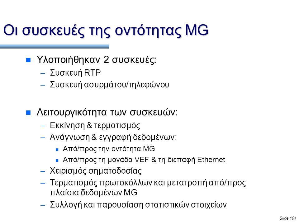 Slide 101 Οι συσκευές της οντότητας MG n Υλοποιήθηκαν 2 συσκευές: –Συσκευή RTP –Συσκευή ασυρμάτου/τηλεφώνου n Λειτουργικότητα των συσκευών: –Εκκίνηση & τερματισμός –Ανάγνωση & εγγραφή δεδομένων: n Από/προς την οντότητα MG n Από/προς τη μονάδα VEF & τη διεπαφή Ethernet –Χειρισμός σηματοδοσίας –Τερματισμός πρωτοκόλλων και μετατροπή από/προς πλαίσια δεδομένων MG –Συλλογή και παρουσίαση στατιστικών στοιχείων