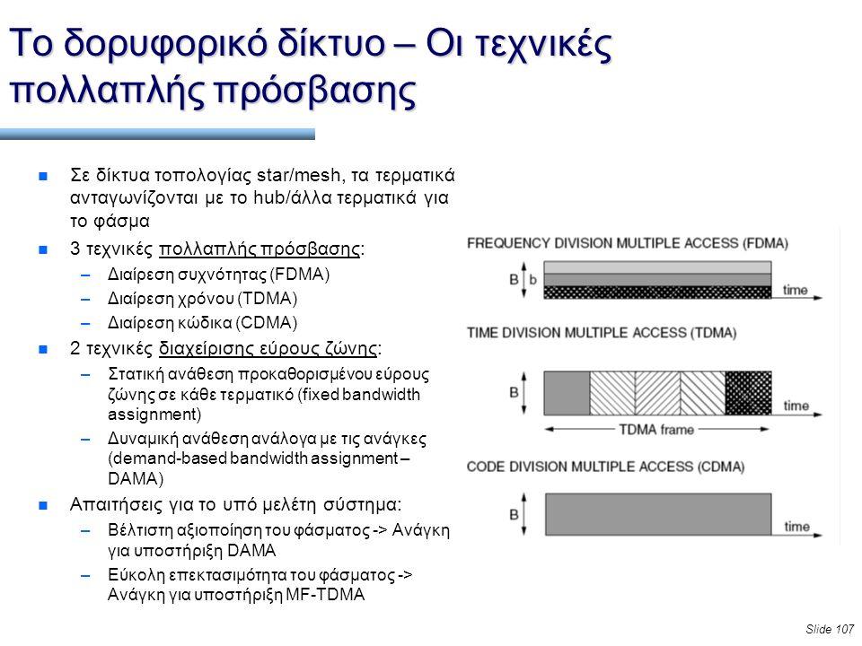 Slide 107 Το δορυφορικό δίκτυο – Οι τεχνικές πολλαπλής πρόσβασης n Σε δίκτυα τοπολογίας star/mesh, τα τερματικά ανταγωνίζονται με το hub/άλλα τερματικ