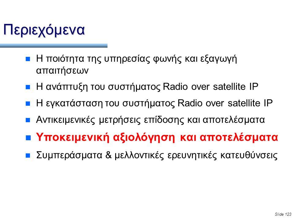 Slide 123 Περιεχόμενα n Η ποιότητα της υπηρεσίας φωνής και εξαγωγή απαιτήσεων n Η ανάπτυξη του συστήματος Radio over satellite IP n Η εγκατάσταση του συστήματος Radio over satellite IP n Αντικειμενικές μετρήσεις επίδοσης και αποτελέσματα n Υποκειμενική αξιολόγηση και αποτελέσματα n Συμπεράσματα & μελλοντικές ερευνητικές κατευθύνσεις