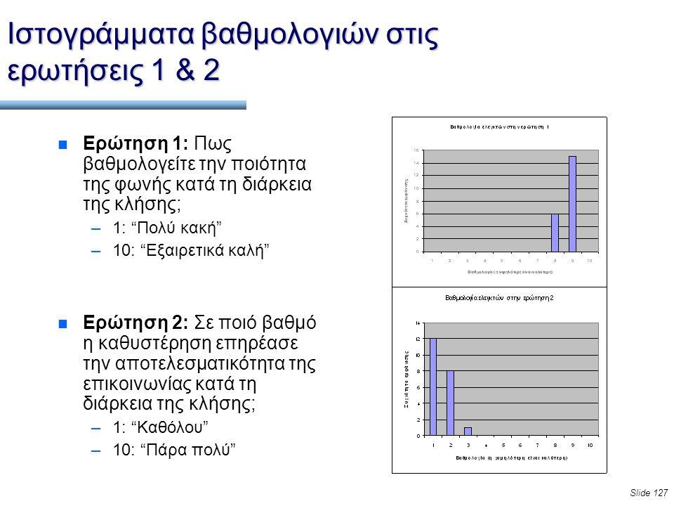Slide 127 Ιστογράμματα βαθμολογιών στις ερωτήσεις 1 & 2 n Ερώτηση 1: Πως βαθμολογείτε την ποιότητα της φωνής κατά τη διάρκεια της κλήσης; –1: Πολύ κακή –10: Εξαιρετικά καλή n Ερώτηση 2: Σε ποιό βαθμό η καθυστέρηση επηρέασε την αποτελεσματικότητα της επικοινωνίας κατά τη διάρκεια της κλήσης; –1: Καθόλου –10: Πάρα πολύ