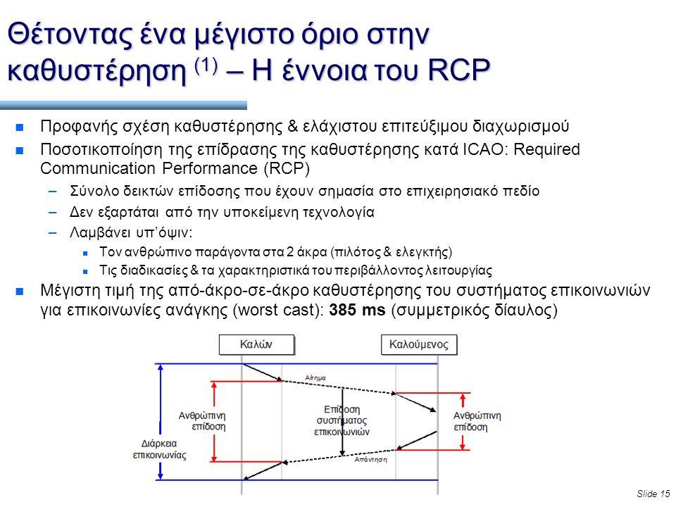 Slide 15 Θέτοντας ένα μέγιστο όριο στην καθυστέρηση (1) – Η έννοια του RCP n Προφανής σχέση καθυστέρησης & ελάχιστου επιτεύξιμου διαχωρισμού n Ποσοτικοποίηση της επίδρασης της καθυστέρησης κατά ICAO: Required Communication Performance (RCP) –Σύνολο δεικτών επίδοσης που έχουν σημασία στο επιχειρησιακό πεδίο –Δεν εξαρτάται από την υποκείμενη τεχνολογία –Λαμβάνει υπ'όψιν: n Τον ανθρώπινο παράγοντα στα 2 άκρα (πιλότος & ελεγκτής) n Τις διαδικασίες & τα χαρακτηριστικά του περιβάλλοντος λειτουργίας n Μέγιστη τιμή της από-άκρο-σε-άκρο καθυστέρησης του συστήματος επικοινωνιών για επικοινωνίες ανάγκης (worst cast): 385 ms (συμμετρικός δίαυλος)