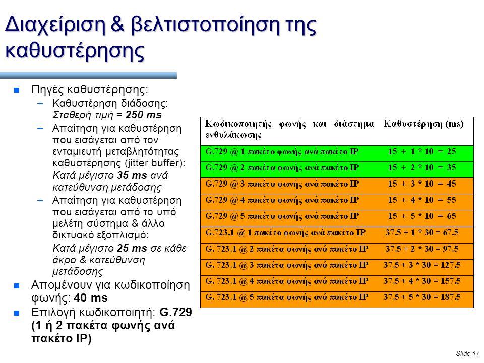 Slide 17 Διαχείριση & βελτιστοποίηση της καθυστέρησης n Πηγές καθυστέρησης: –Καθυστέρηση διάδοσης: Σταθερή τιμή = 250 ms –Απαίτηση για καθυστέρηση που εισάγεται από τον ενταμιευτή μεταβλητότητας καθυστέρησης (jitter buffer): Κατά μέγιστο 35 ms ανά κατεύθυνση μετάδοσης –Απαίτηση για καθυστέρηση που εισάγεται από το υπό μελέτη σύστημα & άλλο δικτυακό εξοπλισμό: Κατά μέγιστο 25 ms σε κάθε άκρο & κατεύθυνση μετάδοσης n Απομένουν για κωδικοποίηση φωνής: 40 ms n Επιλογή κωδικοποιητή: G.729 (1 ή 2 πακέτα φωνής ανά πακέτο IP)