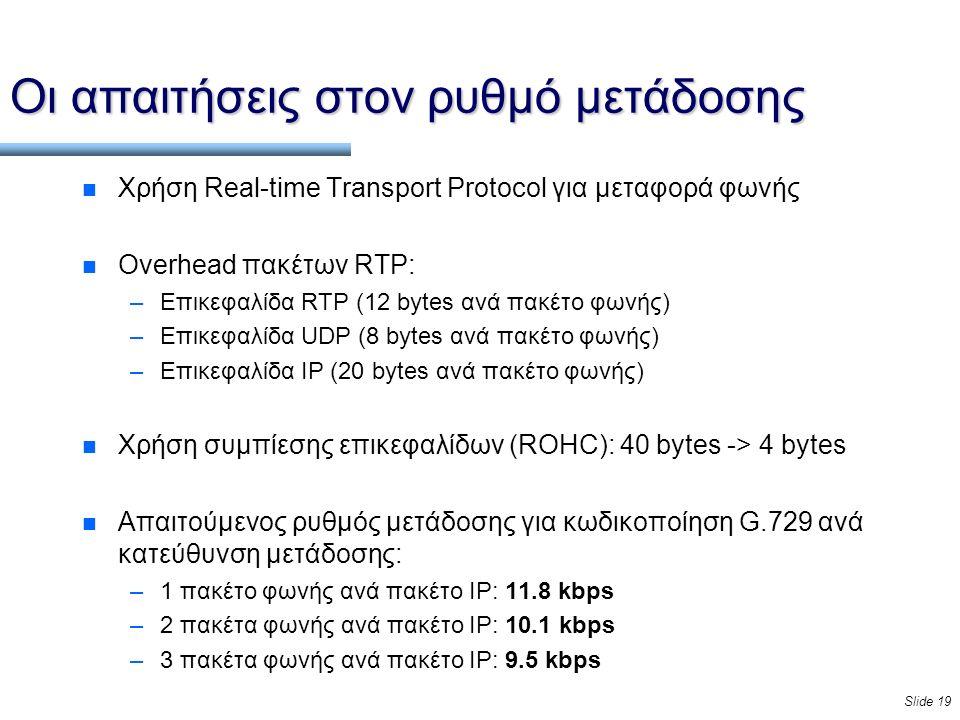 Slide 19 Οι απαιτήσεις στον ρυθμό μετάδοσης n Χρήση Real-time Transport Protocol για μεταφορά φωνής n Overhead πακέτων RTP: –Επικεφαλίδα RTP (12 bytes ανά πακέτο φωνής) –Επικεφαλίδα UDP (8 bytes ανά πακέτο φωνής) –Επικεφαλίδα IP (20 bytes ανά πακέτο φωνής) n Χρήση συμπίεσης επικεφαλίδων (ROHC): 40 bytes -> 4 bytes n Απαιτούμενος ρυθμός μετάδοσης για κωδικοποίηση G.729 ανά κατεύθυνση μετάδοσης: –1 πακέτο φωνής ανά πακέτο IP: 11.8 kbps –2 πακέτα φωνής ανά πακέτο IP: 10.1 kbps –3 πακέτα φωνής ανά πακέτο IP: 9.5 kbps