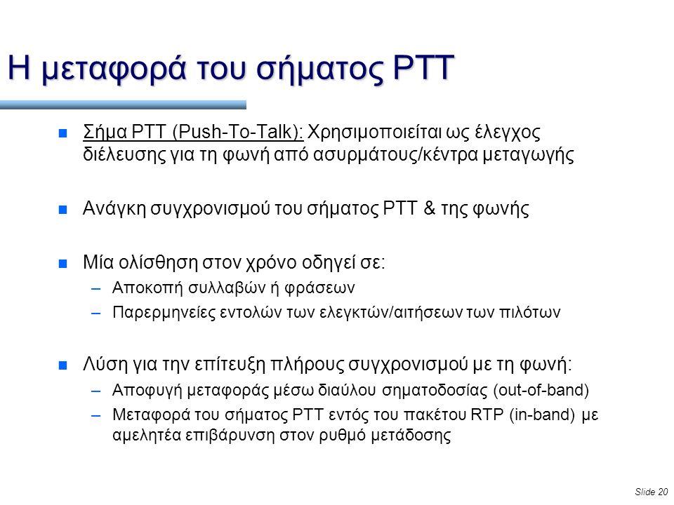 Slide 20 Η μεταφορά του σήματος PTT n Σήμα PTT (Push-To-Talk): Χρησιμοποιείται ως έλεγχος διέλευσης για τη φωνή από ασυρμάτους/κέντρα μεταγωγής n Ανάγκη συγχρονισμού του σήματος PTT & της φωνής n Μία ολίσθηση στον χρόνο οδηγεί σε: –Αποκοπή συλλαβών ή φράσεων –Παρερμηνείες εντολών των ελεγκτών/αιτήσεων των πιλότων n Λύση για την επίτευξη πλήρους συγχρονισμού με τη φωνή: –Αποφυγή μεταφοράς μέσω διαύλου σηματοδοσίας (out-of-band) –Μεταφορά του σήματος PTT εντός του πακέτου RTP (in-band) με αμελητέα επιβάρυνση στον ρυθμό μετάδοσης