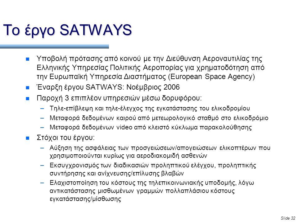 Slide 32 Το έργο SATWAYS n Υποβολή πρότασης από κοινού με την Διεύθυνση Αεροναυτιλίας της Ελληνικής Υπηρεσίας Πολιτικής Αεροπορίας για χρηματοδότηση από την Ευρωπαϊκή Υπηρεσία Διαστήματος (European Space Agency) n Έναρξη έργου SATWAYS: Νοέμβριος 2006 n Παροχή 3 επιπλέον υπηρεσιών μέσω δορυφόρου: –Τηλε-επίβλεψη και τηλε-έλεγχος της εγκατάστασης του ελικοδρομίου –Μεταφορά δεδομένων καιρού από μετεωρολογικό σταθμό στο ελικοδρόμιο –Μεταφορά δεδομένων video από κλειστό κύκλωμα παρακολούθησης n Στόχοι του έργου: –Αύξηση της ασφάλειας των προσγειώσεων/απογειώσεων ελικοπτέρων που χρησιμοποιούνται κυρίως για αεροδιακομιδή ασθενών –Εκσυγχρονισμός των διαδικασιών προληπτικού ελέγχου, προληπτικής συντήρησης και ανίχνευσης/επίλυσης βλαβών –Ελαχιστοποίηση του κόστους της τηλεπικοινωνιακής υποδομής, λόγω αντικατάστασης μισθωμένων γραμμών πολλαπλάσιου κόστους εγκατάστασης/μίσθωσης