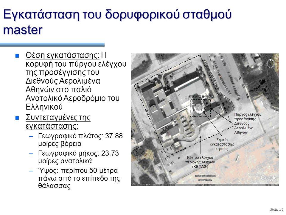 Slide 34 Εγκατάσταση του δορυφορικού σταθμού master n Θέση εγκατάστασης: Η κορυφή του πύργου ελέγχου της προσέγγισης του Διεθνούς Αερολιμένα Αθηνών στο παλιό Ανατολικό Αεροδρόμιο του Ελληνικού n Συντεταγμένες της εγκατάστασης: –Γεωγραφικό πλάτος: 37.88 μοίρες βόρεια –Γεωγραφικό μήκος: 23.73 μοίρες ανατολικά –Ύψος: περίπου 50 μέτρα πάνω από το επίπεδο της θάλασσας