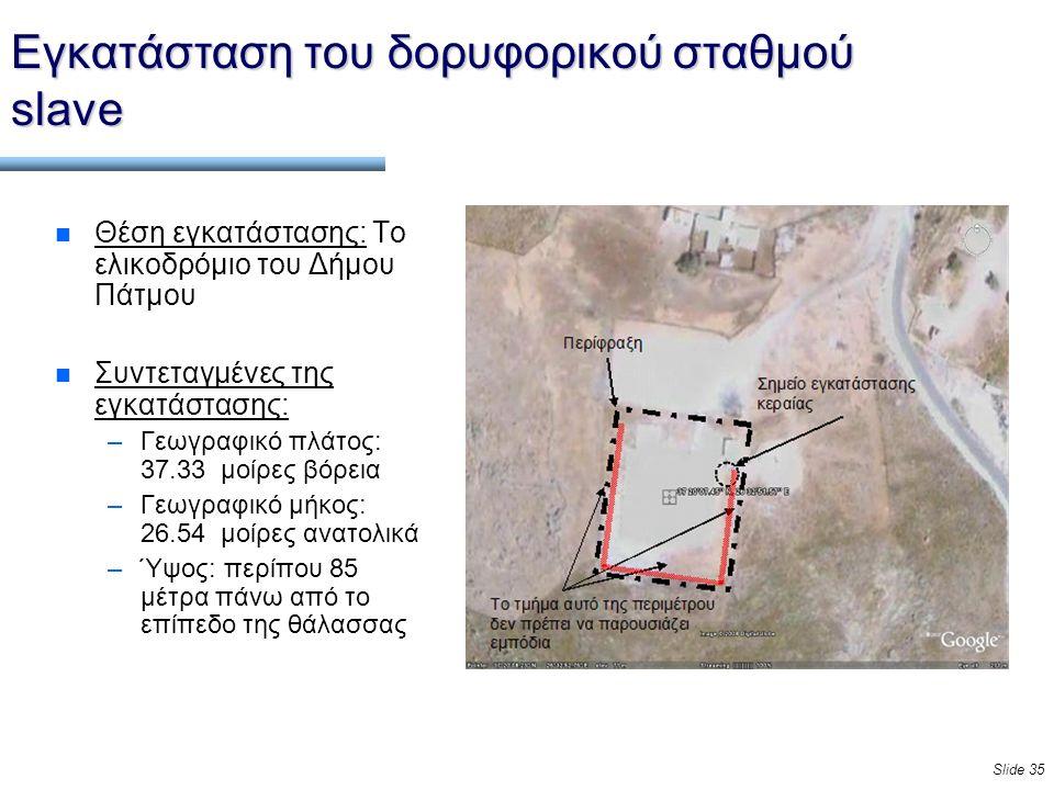 Slide 35 Εγκατάσταση του δορυφορικού σταθμού slave n Θέση εγκατάστασης: Το ελικοδρόμιο του Δήμου Πάτμου n Συντεταγμένες της εγκατάστασης: –Γεωγραφικό πλάτος: 37.33 μοίρες βόρεια –Γεωγραφικό μήκος: 26.54 μοίρες ανατολικά –Ύψος: περίπου 85 μέτρα πάνω από το επίπεδο της θάλασσας