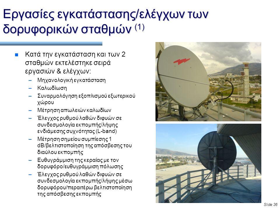 Slide 36 Εργασίες εγκατάστασης/ελέγχων των δορυφορικών σταθμών (1) n Κατά την εγκατάσταση και των 2 σταθμών εκτελέστηκε σειρά εργασιών & ελέγχων: –Μηχανολογική εγκατάσταση –Καλωδίωση –Συναρμολόγηση εξοπλισμού εξωτερικού χώρου –Μέτρηση απωλειών καλωδίων –Έλεγχος ρυθμού λαθών διφυών σε συνδεσμολογία εκπομπής/λήψης ενδιάμεσης συχνότητας (L-band) –Μέτρηση σημείου συμπίεσης 1 dB/βελτιστοποίηση της απόσβεσης του διαύλου εκπομπής –Ευθυγράμμιση της κεραίας με τον δορυφόρο/ευθυγράμμιση πόλωσης –Έλεγχος ρυθμού λαθών διφυών σε συνδεσμολογία εκπομπής/λήψης μέσω δορυφόρου/περαιτέρω βελτιστοποίηση της απόσβεσης εκπομπής