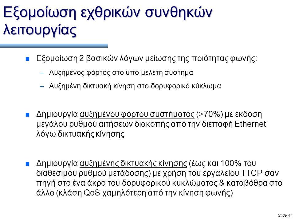Slide 47 Εξομοίωση εχθρικών συνθηκών λειτουργίας n Εξομοίωση 2 βασικών λόγων μείωσης της ποιότητας φωνής: –Αυξημένος φόρτος στο υπό μελέτη σύστημα –Αυξημένη δικτυακή κίνηση στο δορυφορικό κύκλωμα n Δημιουργία αυξημένου φόρτου συστήματος (>70%) με έκδοση μεγάλου ρυθμού αιτήσεων διακοπής από την διεπαφή Ethernet λόγω δικτυακής κίνησης n Δημιουργία αυξημένης δικτυακής κίνησης (έως και 100% του διαθέσιμου ρυθμού μετάδοσης) με χρήση του εργαλείου TTCP σαν πηγή στο ένα άκρο του δορυφορικού κυκλώματος & καταβόθρα στο άλλο (κλάση QoS χαμηλότερη από την κίνηση φωνής)