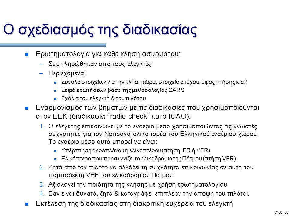 Slide 58 Ο σχεδιασμός της διαδικασίας n Ερωτηματολόγια για κάθε κλήση ασυρμάτου: –Συμπληρώθηκαν από τους ελεγκτές –Περιεχόμενα: n Σύνολο στοιχείων για