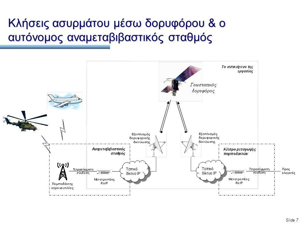 Slide 7 Κλήσεις ασυρμάτου μέσω δορυφόρου & ο αυτόνομος αναμεταβιβαστικός σταθμός