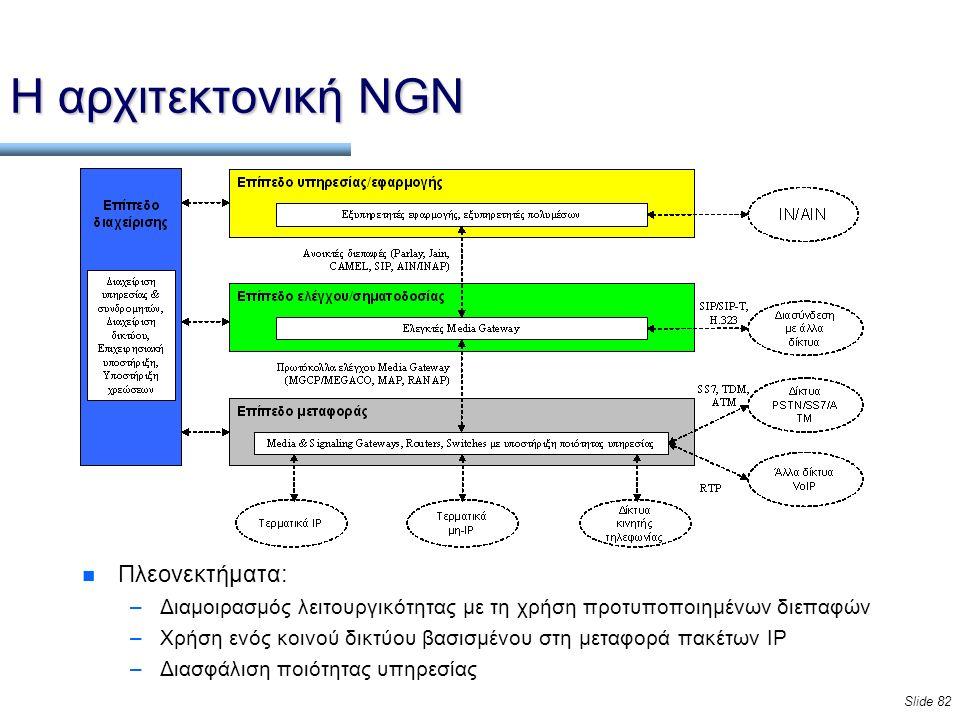 Slide 82 Η αρχιτεκτονική NGN n Πλεονεκτήματα: –Διαμοιρασμός λειτουργικότητας με τη χρήση προτυποποιημένων διεπαφών –Χρήση ενός κοινού δικτύου βασισμένου στη μεταφορά πακέτων IP –Διασφάλιση ποιότητας υπηρεσίας