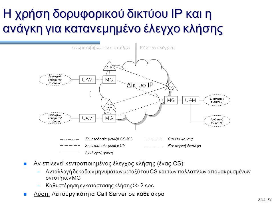 Slide 84 Η χρήση δορυφορικού δικτύου IP και η ανάγκη για κατανεμημένο έλεγχο κλήσης n Αν επιλεγεί κεντροποιημένος έλεγχος κλήσης (ένας CS): –Ανταλλαγή δεκάδων μηνυμάτων μεταξύ του CS και των πολλαπλών απομακρυσμένων οντοτήτων MG –Καθυστέρηση εγκατάστασης κλήσης >> 2 sec n Λύση: Λειτουργικότητα Call Server σε κάθε άκρο