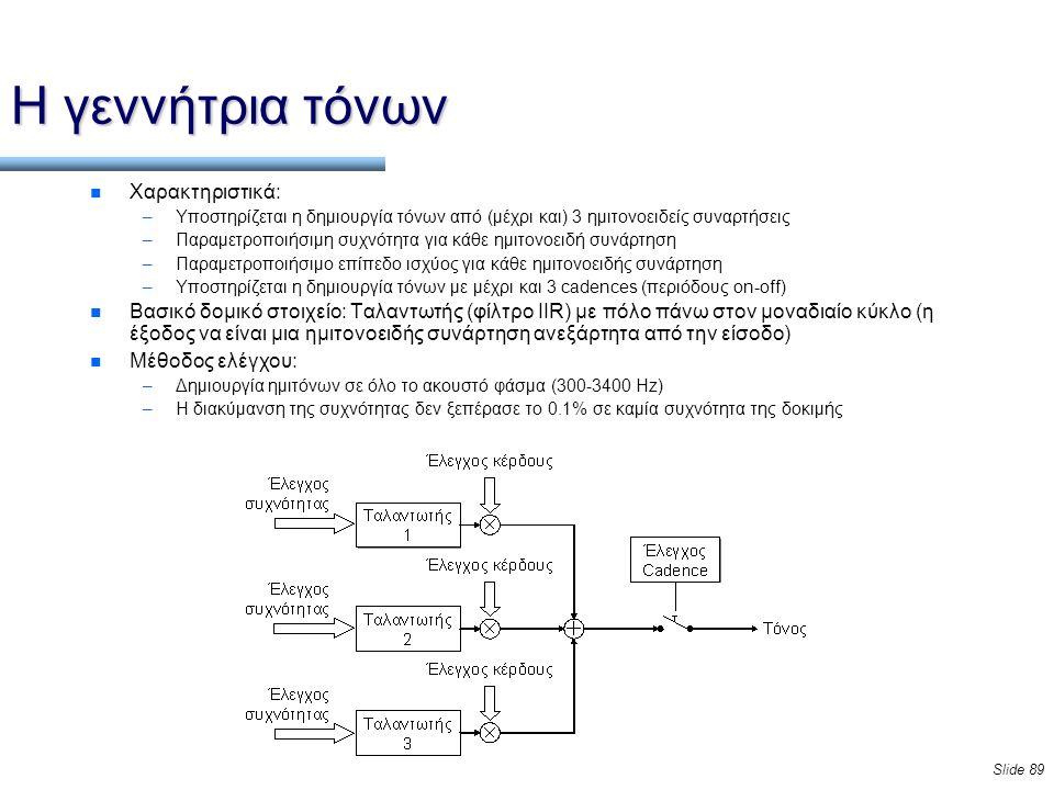 Slide 89 Η γεννήτρια τόνων n Χαρακτηριστικά: –Υποστηρίζεται η δημιουργία τόνων από (μέχρι και) 3 ημιτονοειδείς συναρτήσεις –Παραμετροποιήσιμη συχνότητα για κάθε ημιτονοειδή συνάρτηση –Παραμετροποιήσιμο επίπεδο ισχύος για κάθε ημιτονοειδής συνάρτηση –Υποστηρίζεται η δημιουργία τόνων με μέχρι και 3 cadences (περιόδους on-off) n Βασικό δομικό στοιχείο: Ταλαντωτής (φίλτρο IIR) με πόλο πάνω στον μοναδιαίο κύκλο (η έξοδος να είναι μια ημιτονοειδής συνάρτηση ανεξάρτητα από την είσοδο) n Μέθοδος ελέγχου: –Δημιουργία ημιτόνων σε όλο το ακουστό φάσμα (300-3400 Hz) –Η διακύμανση της συχνότητας δεν ξεπέρασε το 0.1% σε καμία συχνότητα της δοκιμής