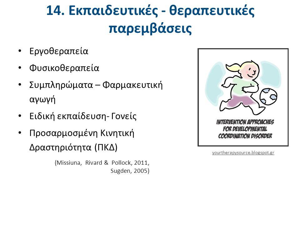 14. Εκπαιδευτικές - θεραπευτικές παρεμβάσεις Εργοθεραπεία Φυσικοθεραπεία Συμπληρώματα – Φαρμακευτική αγωγή Ειδική εκπαίδευση- Γονείς Προσαρμοσμένη Κιν