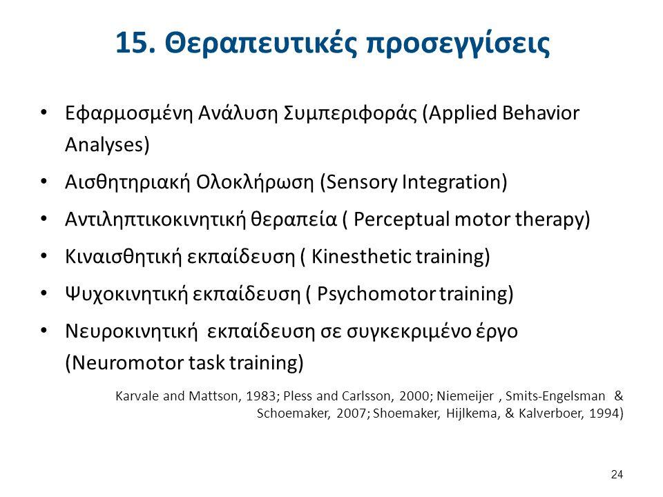 15. Θεραπευτικές προσεγγίσεις Εφαρμοσμένη Ανάλυση Συμπεριφοράς (Applied Behavior Analyses) Αισθητηριακή Ολοκλήρωση (Sensory Integration) Αντιληπτικοκι