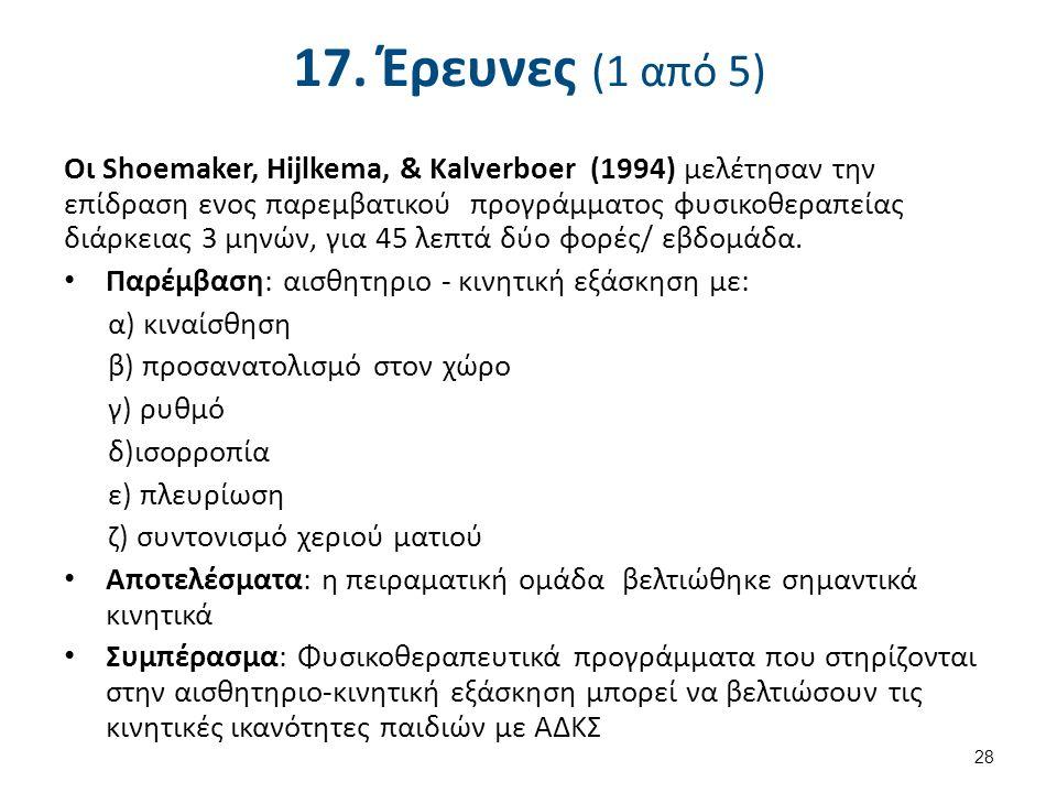 17. Έρευνες (1 από 5) Οι Shoemaker, Hijlkema, & Kalverboer (1994) μελέτησαν την επίδραση ενος παρεμβατικού προγράμματος φυσικοθεραπείας διάρκειας 3 μη