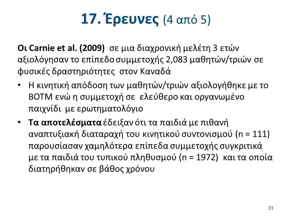 17. Έρευνες (4 από 5) Οι Carnie et al.
